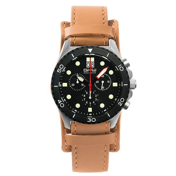 German Military Titanium Chronograph. GPW Mission Chrono. Big Date. 10 BAR W/R. Sapphire Crystal. Brown BUND Leatherstrap.