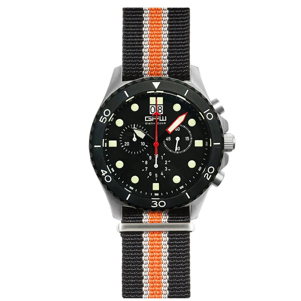 German Military Titanium Chronograph. GPW Mission Chrono. Big Date. 10 BAR W/R. Sapphire Crystal. Black, White & Orange Nylon Strap.
