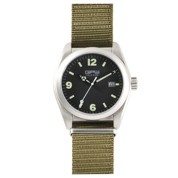 German Military Titanium Watch. GPW Fieldwatch Automatic. 200M W/R. Sapphire Crystal. Green Nylon Strap.