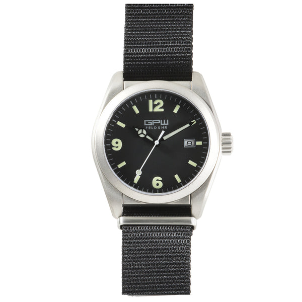 German Military Titanium Watch. GPW Fieldwatch Automatic. 200M W/R. Sapphire Crystal. Black Nylon Strap.