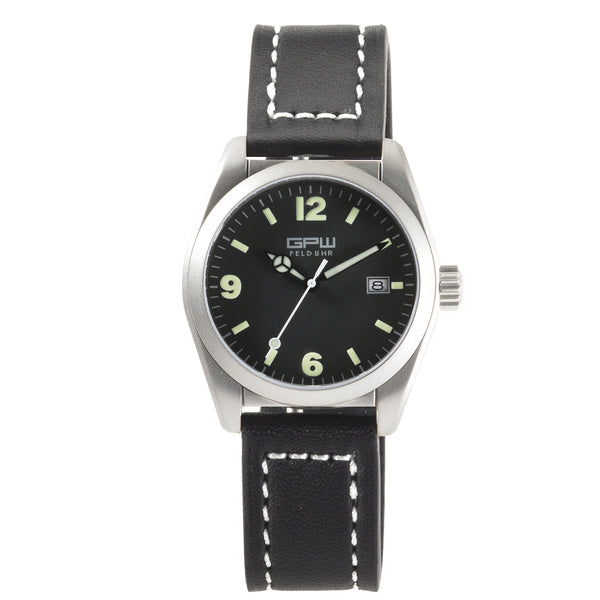 German Military Titanium Watch. GPW Fieldwatch Automatic. 200M W/R. Sapphire Crystal. Black Leatherstrap with white stitching.