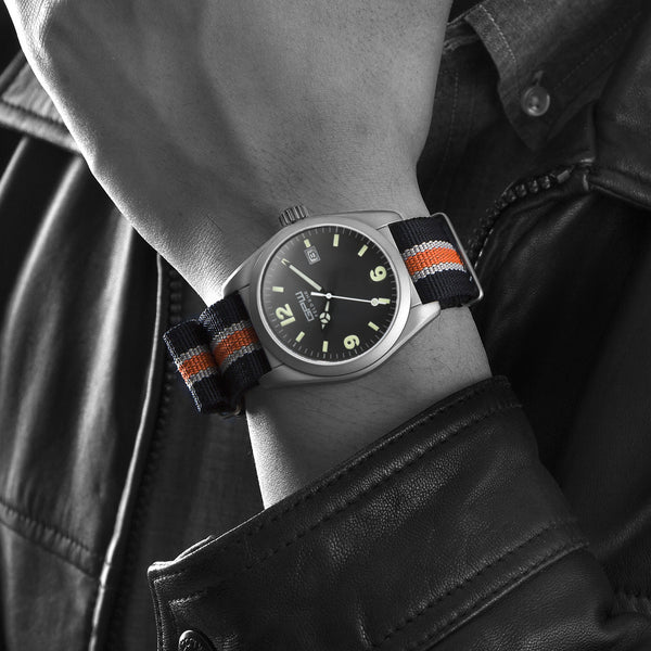 German Military Titanium Watch. GPW Fieldwatch Automatic. 200M W/R. Sapphire Crystal. Black White & Orange Nylon Strap.