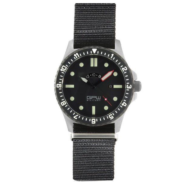 German Military Titanium Watch. GPW GMT. 200M W/R. Sapphire Crystal. Black Nylon Strap.