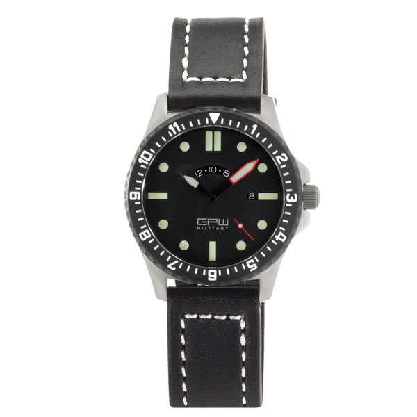 German Military Titanium Watch. GPW GMT. Sapphire Crystal. Black Leatherstrap. 200M W/R