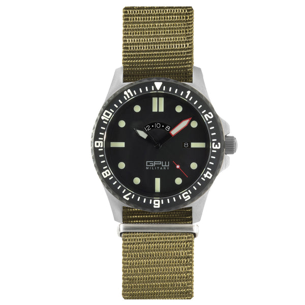 German Military Titanium Watch. GPW GMT. 200M W/R. Sapphire Crystal. Olive Nylon Strap.