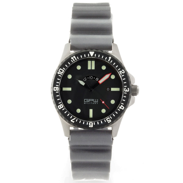German Military Titanium Watch. GPW GMT. Grey NATO Rubber Strap. Sapphire Crystal. 200M W/R.