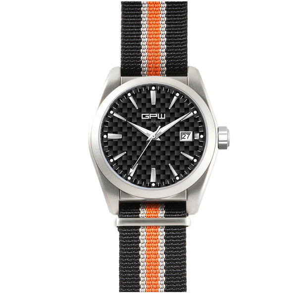 German Military Titanium Watch. GPW Offizier Automatic. 200M W/R. Sapphire Crystal. Black White & Orange Nylon Strap.