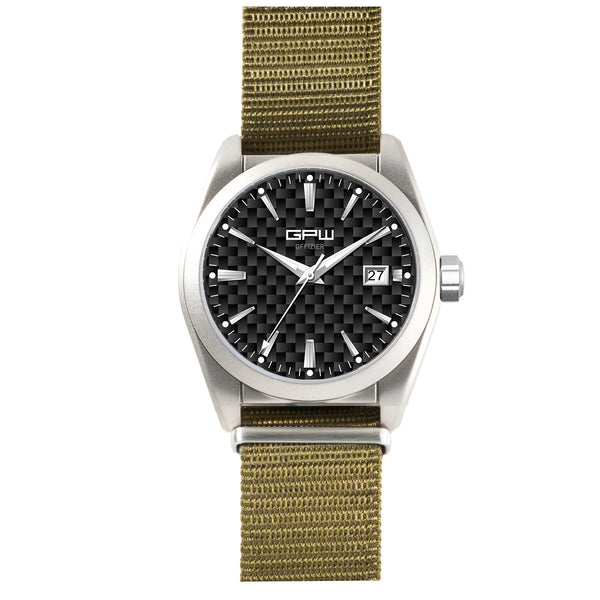 German Military Titanium Watch. GPW Offizier Automatic. 200M W/R. Sapphire Crystal. Olive Nylon Strap.