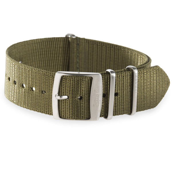 22mm Olive Green Nylon Watch Strap by Arctos-Elite® Germany with Surgical Steel Buckle.
