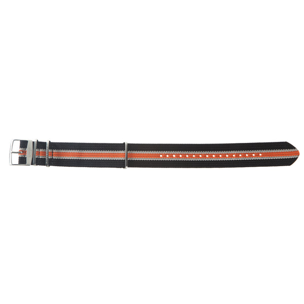 22mm Black, White and Orange Nylon Watch Strap by Arctos-Elite® Germany with Surgical Steel Buckle.