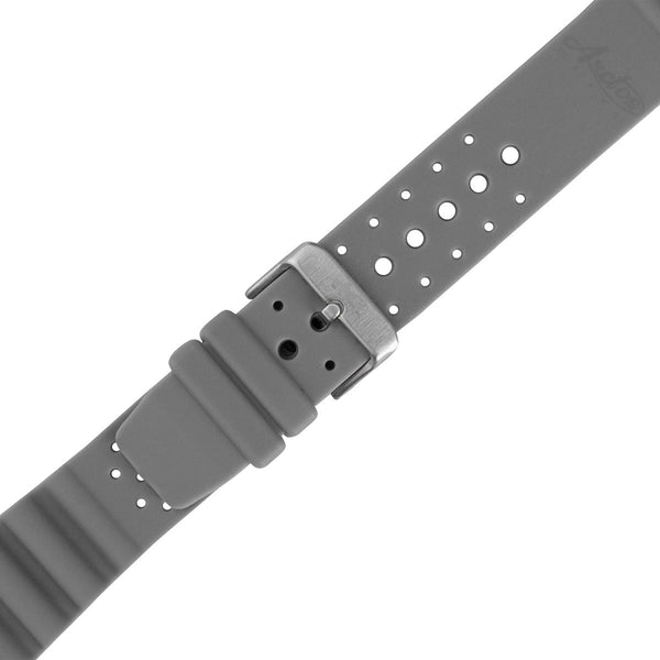 22mm Grey Military PU-Rubber Strap by Arctos-Elite® Germany. Waterproof. Surgical Steel Buckle.