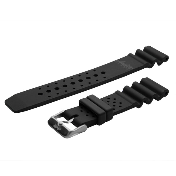 22mm Black Military PU-Rubber Strap by Arctos-Elite® Germany. Waterproof. Surgical Steel Buckle.