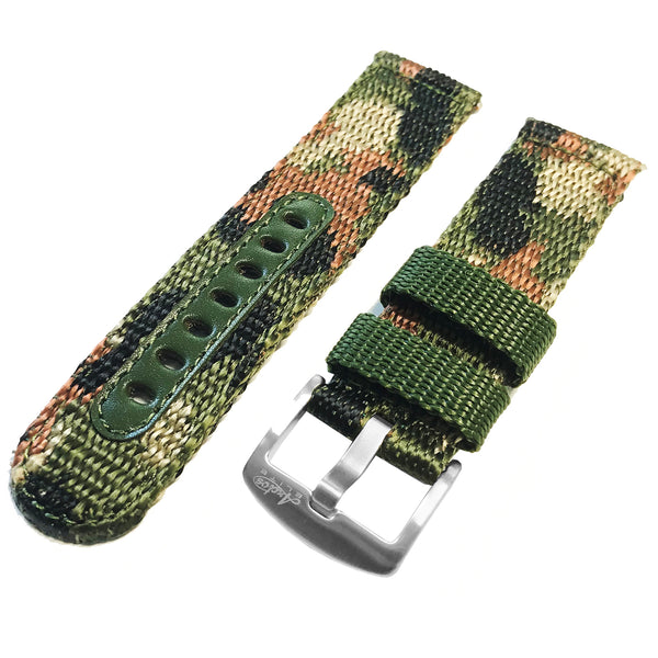 22mm Nylon Camouflage German 'Flecktarn' Watch Strap by Arctos-Elite.  Surgical Steel Buckle.
