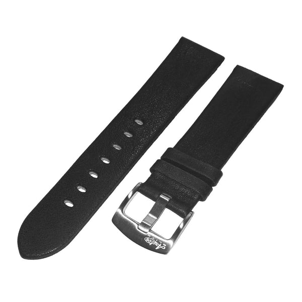 22mm Soft Black Genuine Italian Leather Watch Strap by Arctos-Elite Germany. Surgical Steel Buckle.