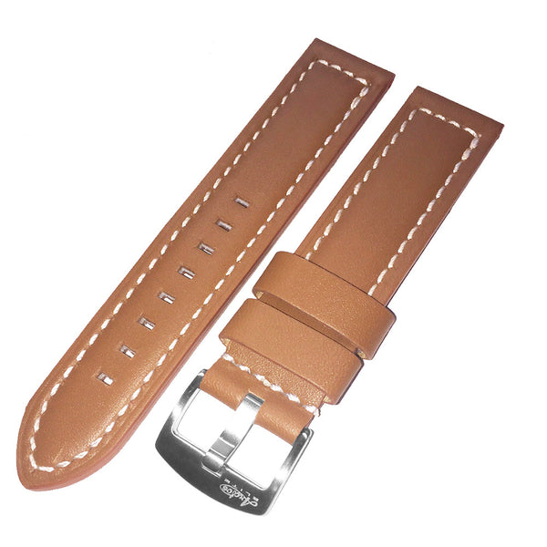 22mm Brown Genuine Italian Calfskin Leather Watch Strap with White Stitching by Arctos-Elite Germany. Surgical Steel Buckle.
