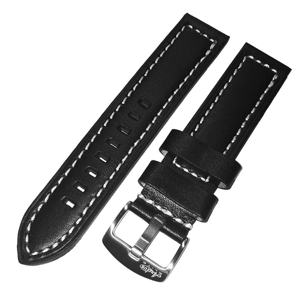 22mm Black Genuine Italian Calfskin Leather Watch Strap with White Stitching by Arctos-Elite Germany. Surgical Steel Buckle.