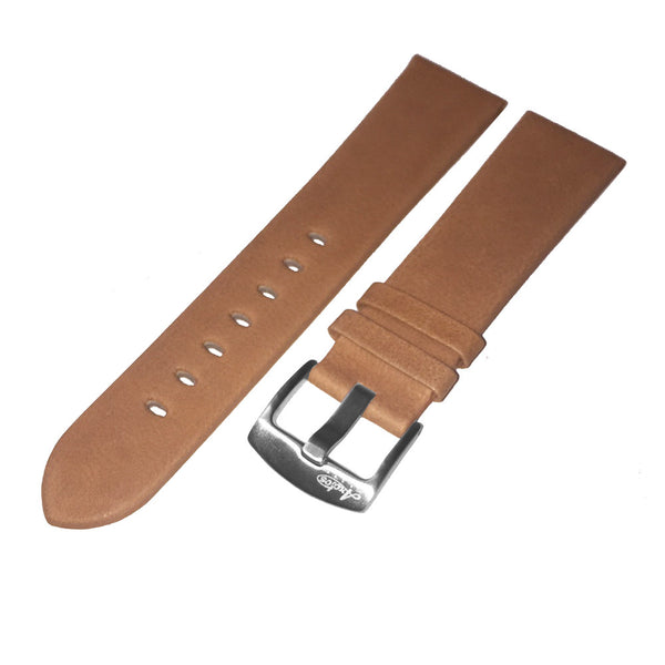 22mm Soft Brown Genuine Italian Leather Watch Strap by Arctos-Elite Germany. Surgical Steel Buckle.