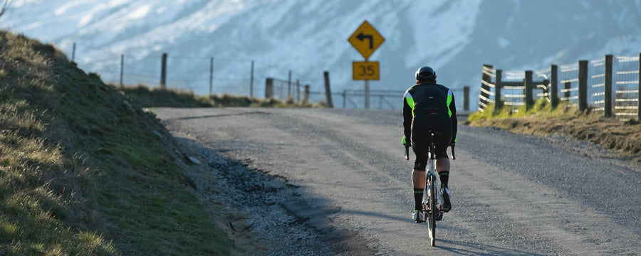 road cyclist on mountain road