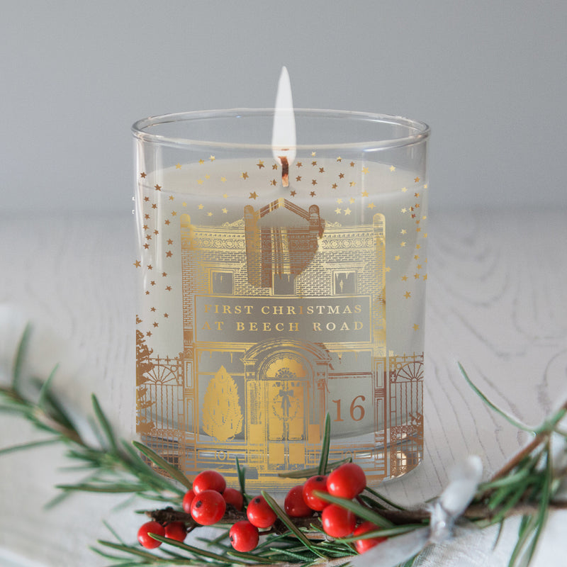 PERSONALISED NEW HOME CHRISTMAS CANDLE