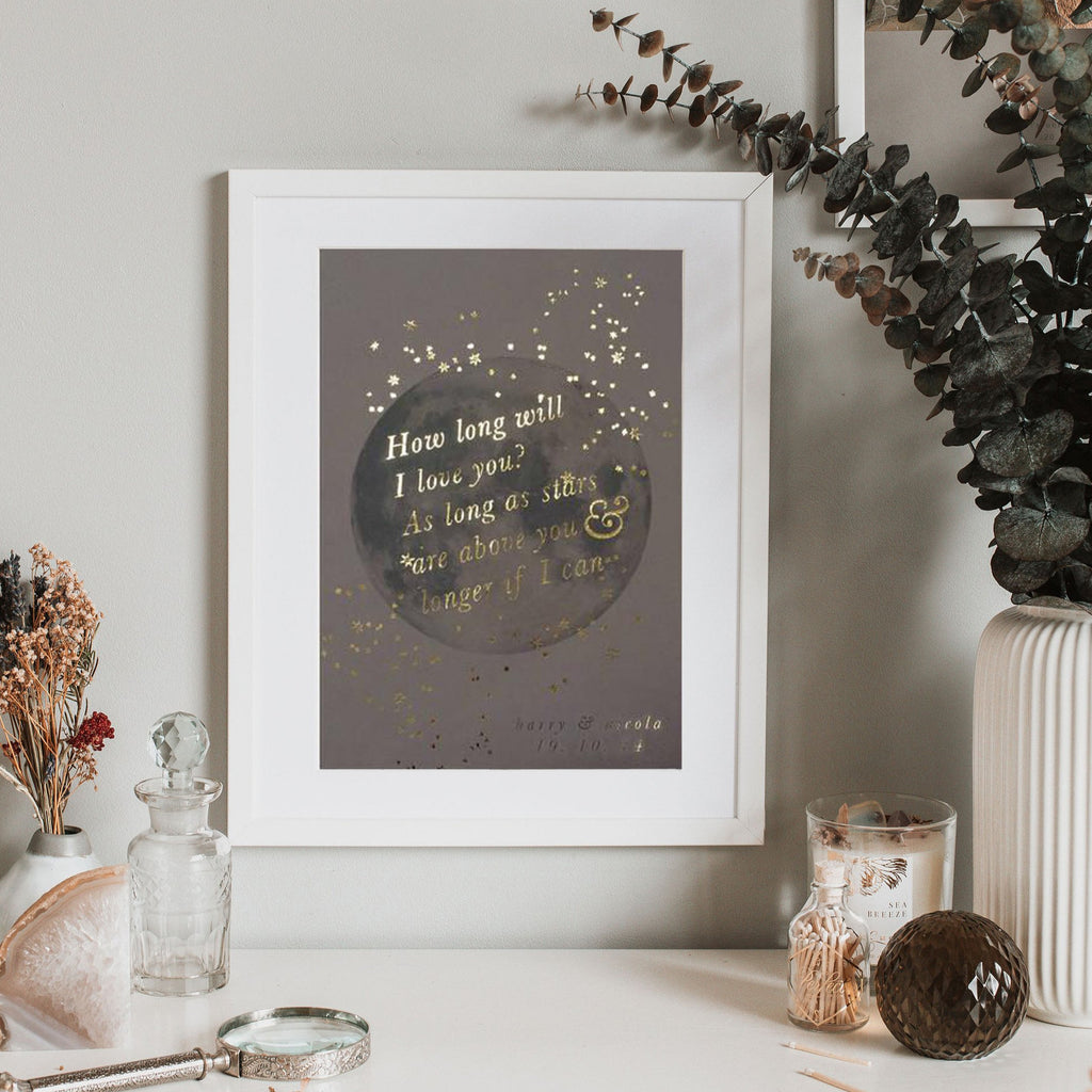 MOON WITH PERSONALISED SONG LYRICS PRINT