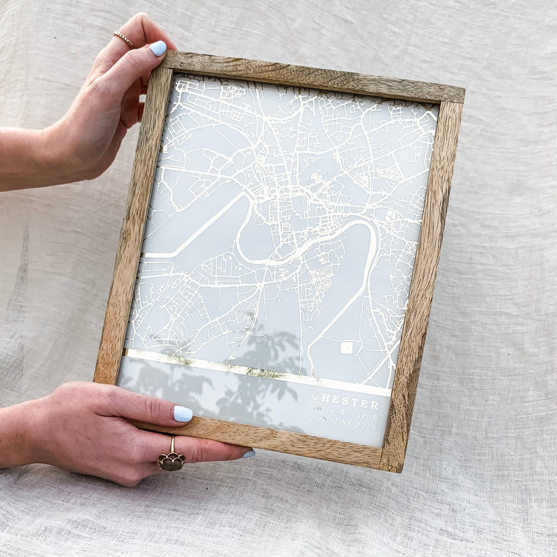 Personalised Metallic Map And See Through Glass Frame