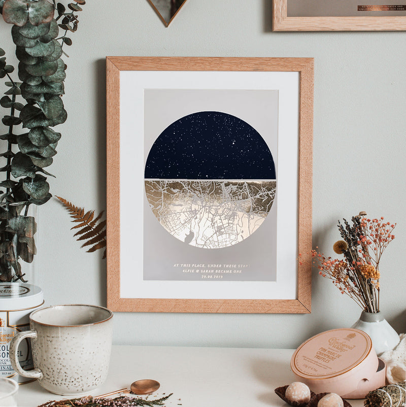 Personalised Night Sky And Metallic Map Print