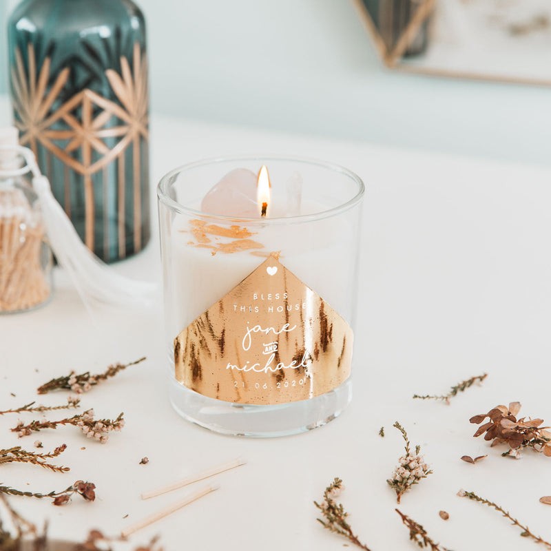 Personalised 'Wedding Gift' Crystal Intention Candle