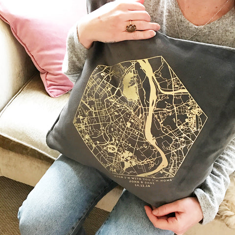 Personalised Velvet Map Cushion