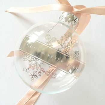 PERSONALISED GLASS BAUBLE FLORAL WEDDING