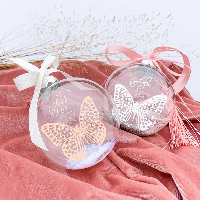 Baby Girl Personalised Butterfly Christmas Bauble