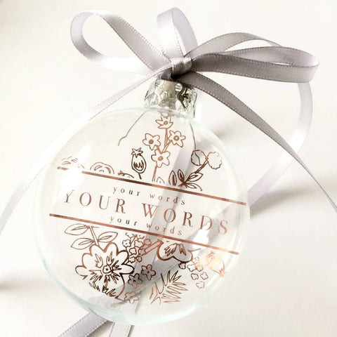 BOTANICAL PERSONALISED GLASS BAUBLE HANGING DECORATION