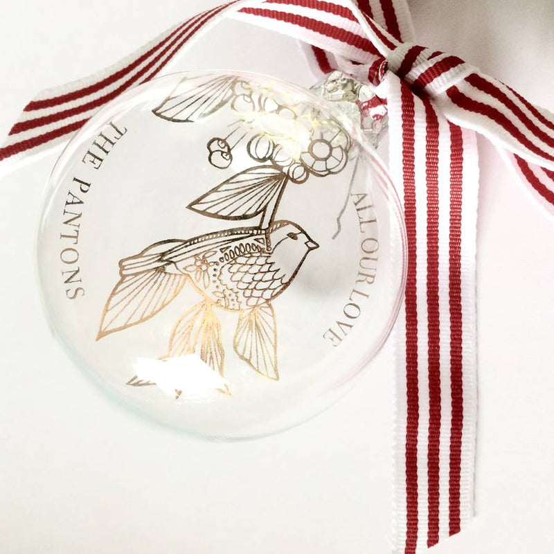 CHRISTMAS ROBIN PERSONALISED GLASS BAUBLE