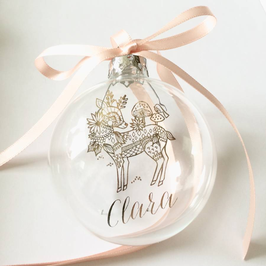DEER WITH PERSONALISED NAME CHRISTMAS BAUBLE