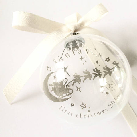 REINDEER PERSONALISED FIRST CHRISTMAS GLASS BAUBLE