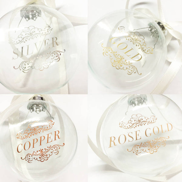 ADD YOUR OWN WORDS PERSONALISED GLASS BAUBLE
