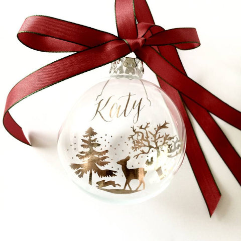 WINTER FOREST PERSONALISED CHRISTMAS BAUBLE