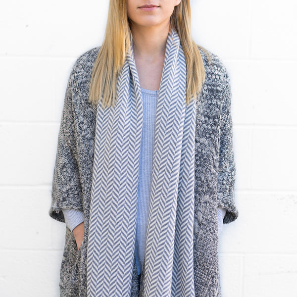 Hunter Scarf - Grey + White Cashmere Scarf