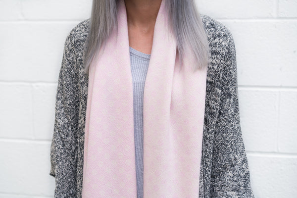 Winter 17 Collection #6 - Starburst - Soft Pink + Ivory White Cashmere Scarf