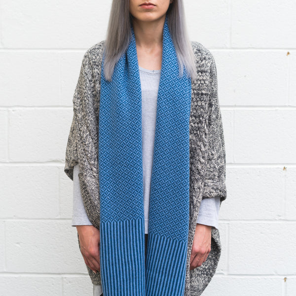 Winter 17 Collection #8 - Shadow Box - Cobalt Blue + Cerulean Blue Cashmere Scarf