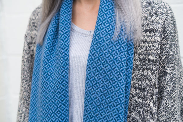 Winter Collection #8 - Shadow Box - Cobalt Blue + Cerulean Blue Cashmere Scarf