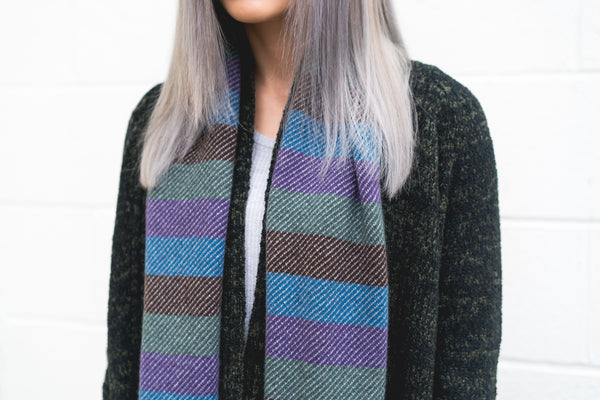 Winter 17 Collection #3 - Bars + Stripes - Multi-Colored Bars + Grey Stripes Cashmere Scarf