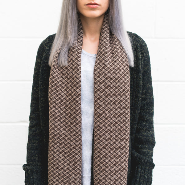 Winter 17 Collection #4 - Hopscotch - Sable Brown + Chocolate Cashmere Scarf