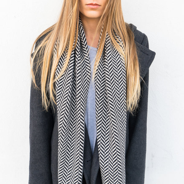 Hunter Scarf - Black + White Cashmere Scarf