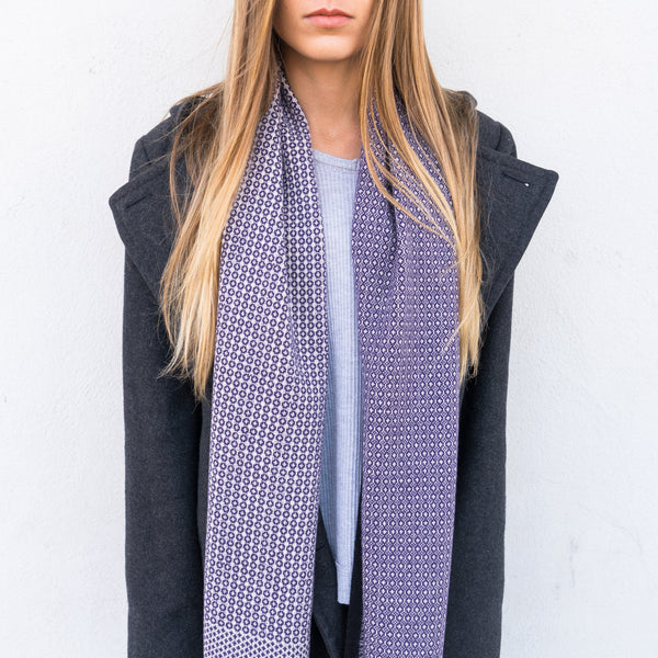 Taylor Scarf - Purple + White Cashmere Scarf