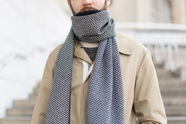 Winter Collection #5 - Houndstooth - Black, White + Grey Cashmere Scarf