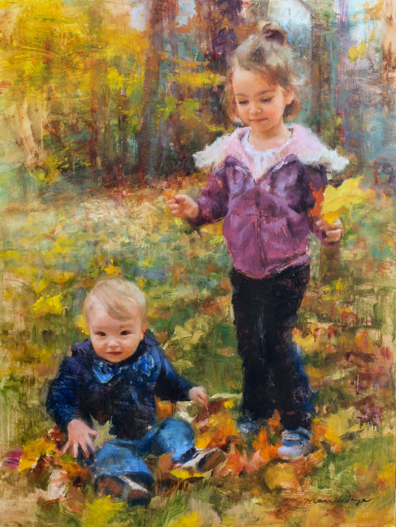 maria waye artist custom portrait oil painting children kids babies family autumn fall colors canada ontario toronto