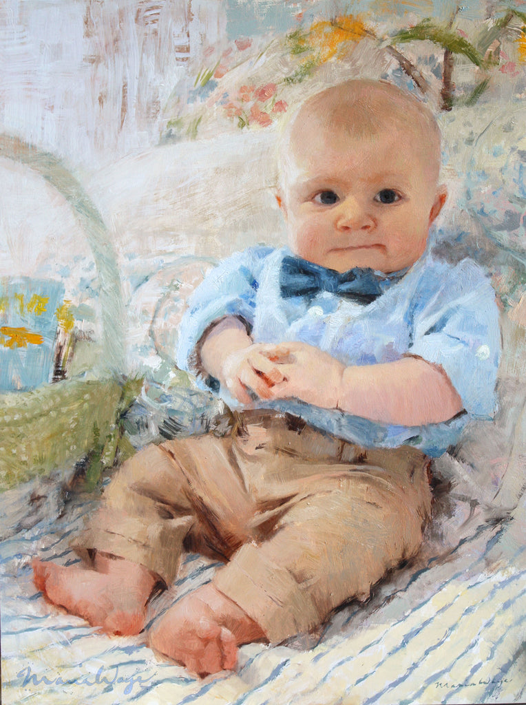 Maria-Waye-Artist-Custom-Oil-Portrait-Painting-Fine-Art-Decor-baby-boy-cute-original-art-baby blue khaki elegant realistic pastel colors