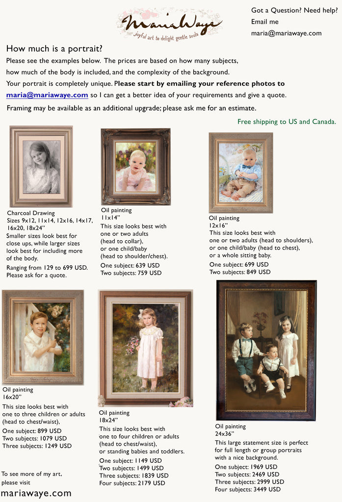 how much is a portrait painting