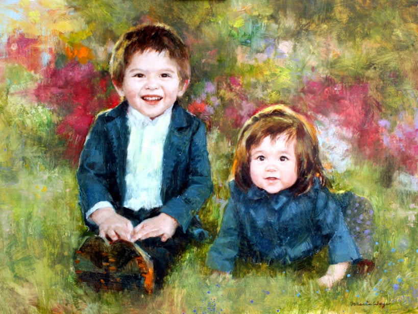 maria waye custom portrait big brother little sister baby at the garden, a beautiful day, joyful gift, special love oil painting perfect lovely