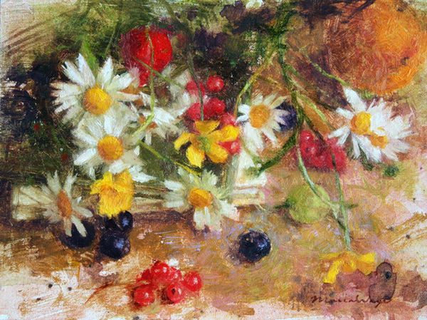 Maria Waye Oil Painting Flowers White Yellow red orange fine art